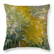 The Path Through The Irises Throw Pillow