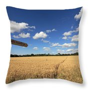 Tracks Through Golden Wheat Field Throw Pillow