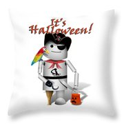 Trick Or Treat Time For Robo-x9 Throw Pillow