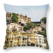 Udaipur City Palace In Rajasthan Throw Pillow