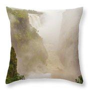 Victoria Falls In Zambia Throw Pillow