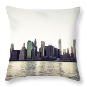 View Of Lower Manhattan Skyscrapers And Huge Sky Throw Pillow