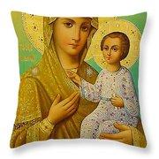Virgin And Child Icon Christian Art Throw Pillow