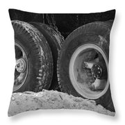 4 Wheels And Sand Throw Pillow