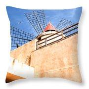 Windmill - Trapani Salt Flats Throw Pillow
