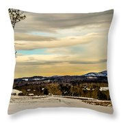 Winter Landscape And Snow Covered Roads In The Mountains Throw Pillow