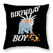 4 Years Old Birthday Design Dinosuar Shirt Throw Pillow