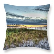 Yorktown Beach At Sunrise Throw Pillow
