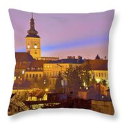 Zagreb Historic Upper Town Night View Throw Pillow