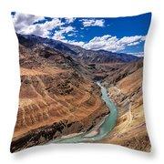 Zanskar River Ladakh Jammu And Kashmir India Throw Pillow