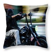 Bike Night Throw Pillow