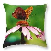 #416 14a Butterfly Fritillary, Coneflower Lunch Break Good Till The Last Drop Throw Pillow