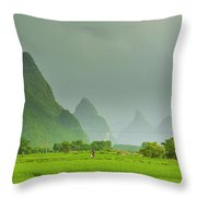 The Beautiful Karst Rural Scenery Throw Pillow