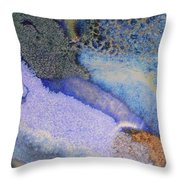 42. V1 Blue Purple Black Glaze Painting Throw Pillow