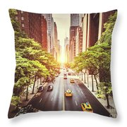 42nd Street In New York During The Day  Throw Pillow