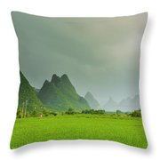 The Beautiful Karst Rural Scenery Throw Pillow