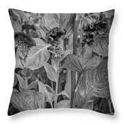 4398- Flower Black And White Throw Pillow