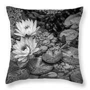 4445- Lily Pads Black And White Throw Pillow