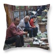 4461- Street Venders Throw Pillow