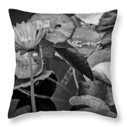 4466- Lily Pads Black And White Throw Pillow