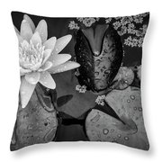 4475- Lily Pads Black And White Throw Pillow
