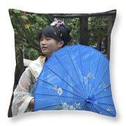 4479- Girl With Umbrella Throw Pillow