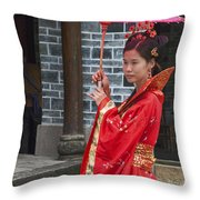 4494- Girl With Umbrella Throw Pillow
