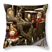 American Christmas Card Throw Pillow
