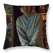 4625- Shop Girl Throw Pillow