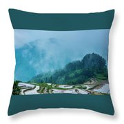 Longji Terraced Fields Scenery Throw Pillow by Carl Ning