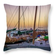 4956- Key West Harbor At Sunset Throw Pillow