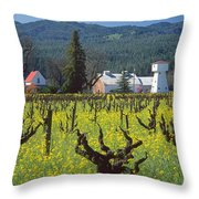 4b6394 Mustard In The Vineyards Throw Pillow