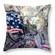 4th Of July Cycle Throw Pillow