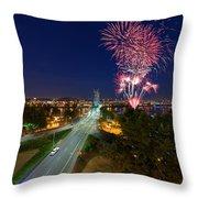 4th Of July Fireworks Portland Oregon Throw Pillow