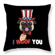 4th Of July Usa Indepedence Day Patriotic Uncle Sam Pug Dog Throw Pillow