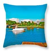 4x1 Downtown Tampa Panorama Throw Pillow