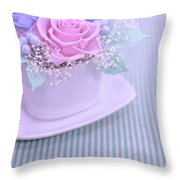 A Gift Of Preservrd Flower And Clay Flower Arrangement, Blue And Throw Pillow