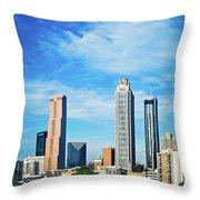 Atlanta Downtown Skyline With Blue Sky Throw Pillow
