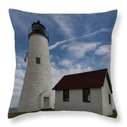 Bakers Island Lighthouse Salem Throw Pillow