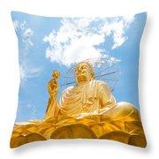 Big Golden Buddha Throw Pillow