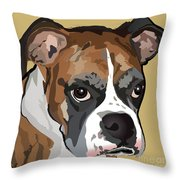Boxer Dog Portrait Throw Pillow