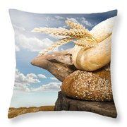Bread And Wheat Cereal Crops Throw Pillow