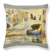 Bridge With Figures Throw Pillow