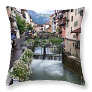 Canals Of Annecy Throw Pillow