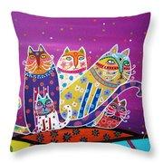5 Cats Throw Pillow