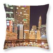 Chicago Illinois Tilt Effect Cityscape At Night Throw Pillow