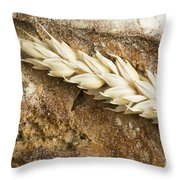 Close Up Bread And Wheat Cereal Crops Throw Pillow
