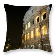 Coliseum Illuminated At Night. Rome Throw Pillow