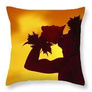 Conch Shell Blower Throw Pillow