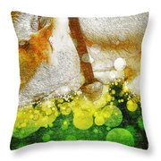 Cow With Bell Throw Pillow